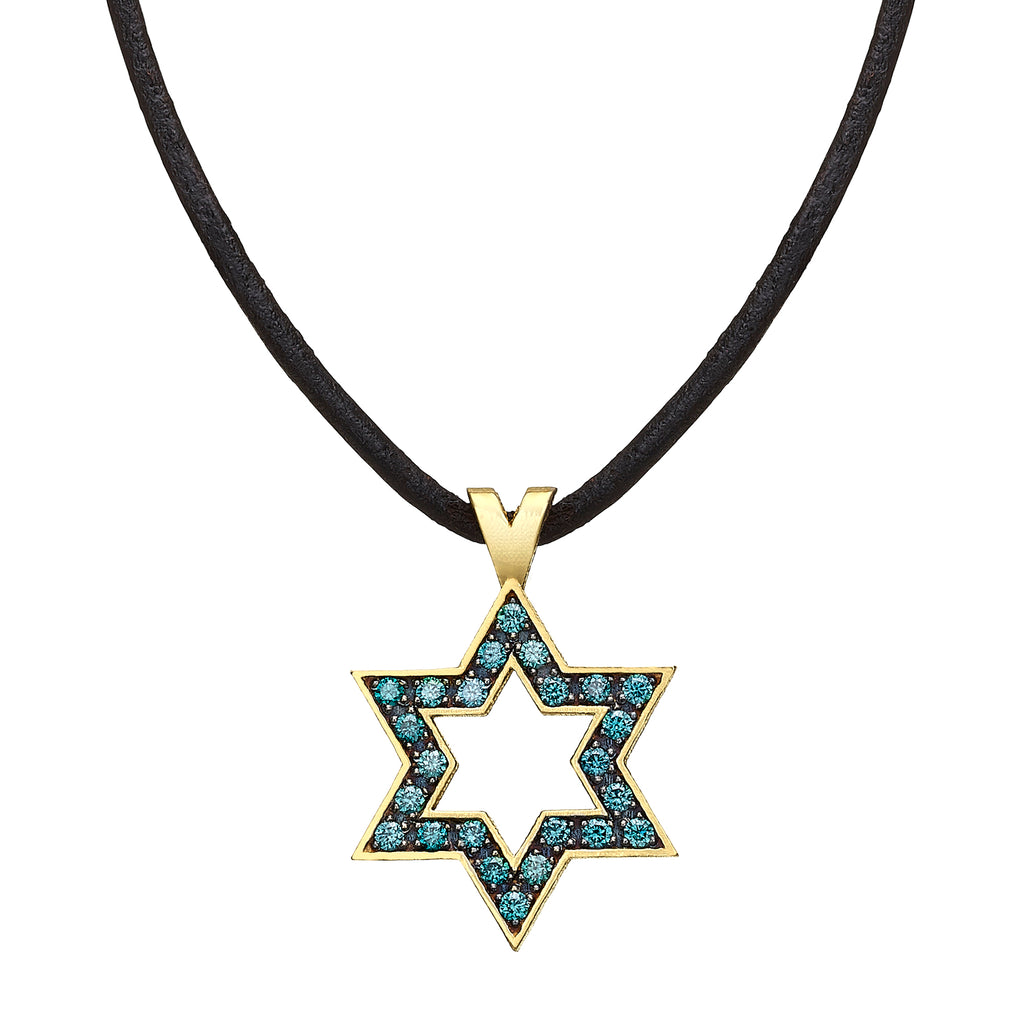 Star of David set with Blue Diamonds - Chaya & Raphael's Galleries