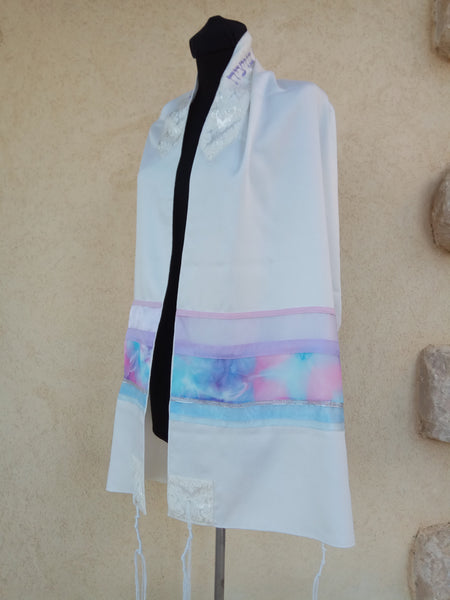 Women's Tallit - Viscose Pink and Purple - Chaya jewelry, Jerusalem