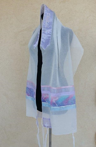 Women's Tallit - Voile Pink and Purple - Chaya & Raphael's Galleries