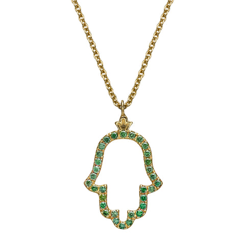 Hamsa Pendant set with Colored Green Diamonds