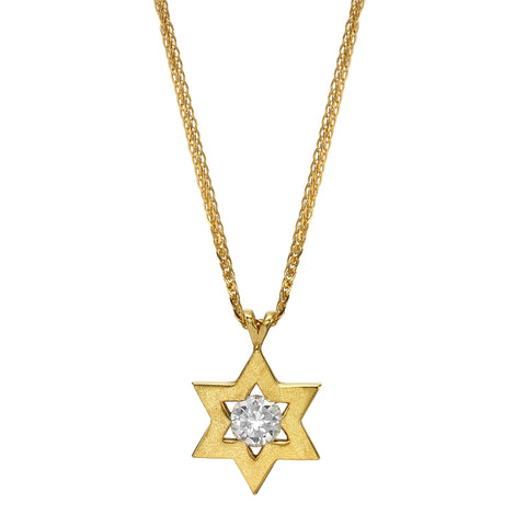 Star of David set with a Center Blue Colored Diamond