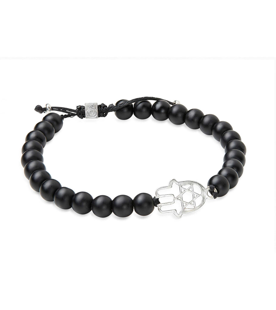BRACELET - BLACK STONES AND HAMSA BRACELET - Chaya & Raphael's Galleries
