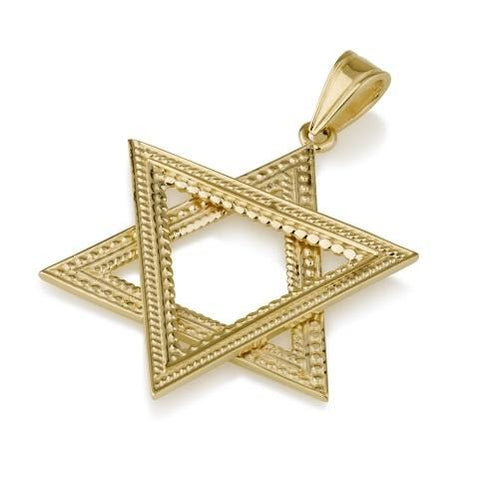 Pendant - 14K Star of David Pendant (V) - Chaya jewelry, Jerusalem