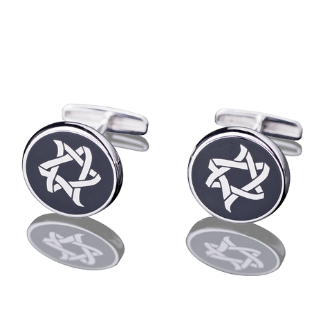 "CUFFLINKS - ""ICE AND FIRE"" WHITE GOLD - Chaya & Raphael's, Israel"