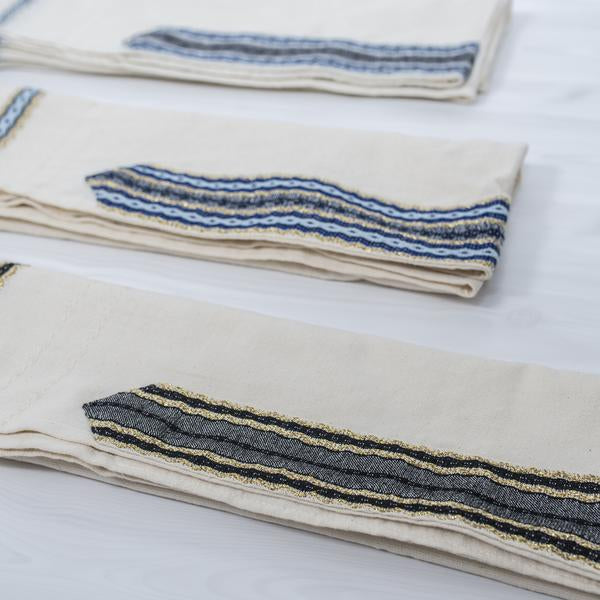 Cotton Tallit - Black and Gold on Off-White