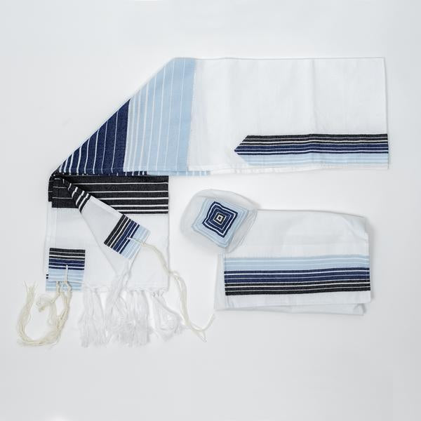 Cotton Tallit - Blue and Black Stripes with Silver on White