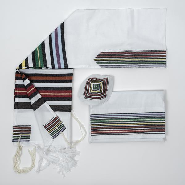 Cotton Tallit - White Background