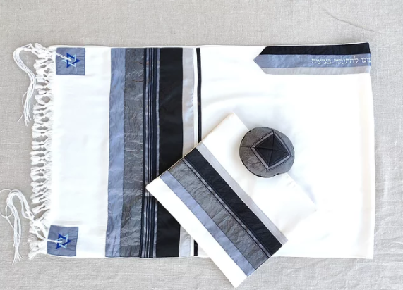 Elegant Gabrieli tallit - Black on White