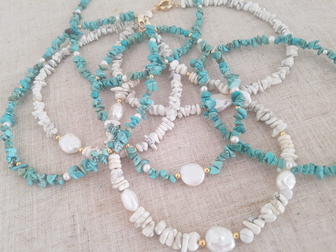 Summer Necklace With Semi-Precious Gems and Pearls - Chaya jewelry, Jerusalem