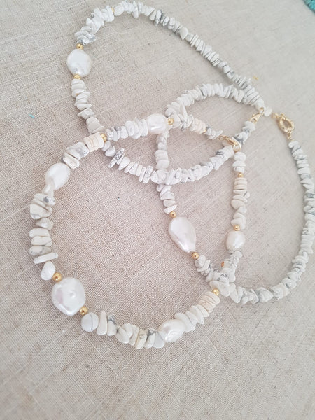 Summer Necklace With Semi-Precious Gems and Pearls - Chaya & Raphael's Galleries