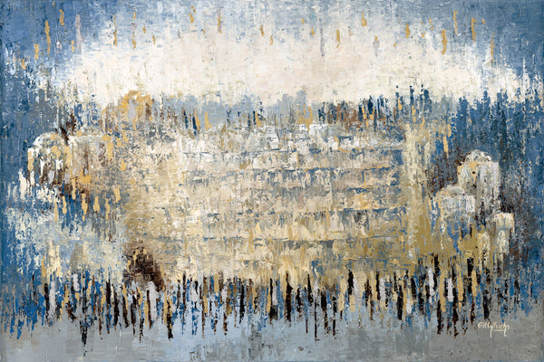 The Kotel in Silver and Blue Abstract - Chaya & Raphael's, Israel