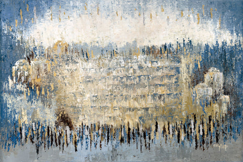 The Kotel in Silver and Blue Abstract - Chaya & Raphael's Galleries