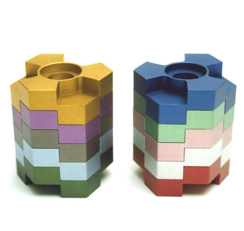 Menorah - Lego Stack Multi-color Reversible Menorah Candlesticks - Chaya & Raphael's Galleries