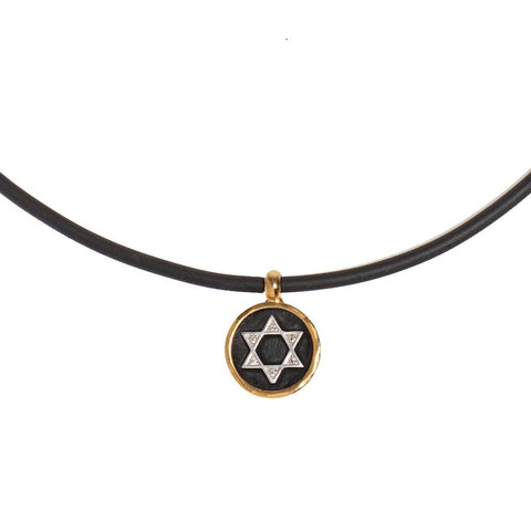"NECKLACE - ""STAR OF DAVID"" CRYSTAL SILICONE NECKLACE - Chaya & Raphael's Galleries"