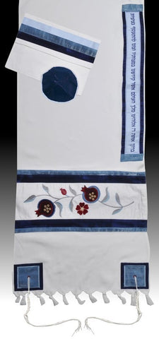 Women's Tallit Pomegranate Blue - Chaya jewelry, Jerusalem