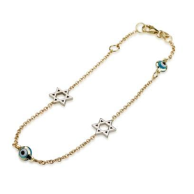 Necklace - 14K Star of David and Evil Eye Necklace - Chaya jewelry, Jerusalem