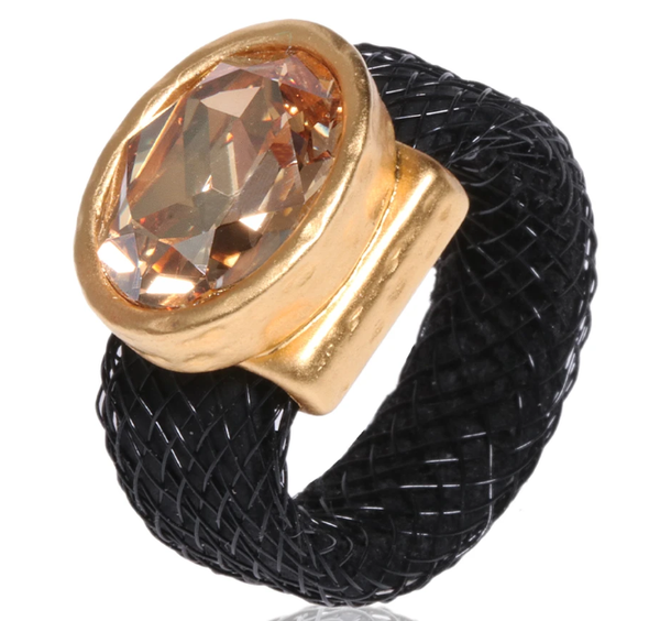 RING - GOLDEN SWAROVSKY SILICONE & MESH RING - Chaya & Raphael's Galleries
