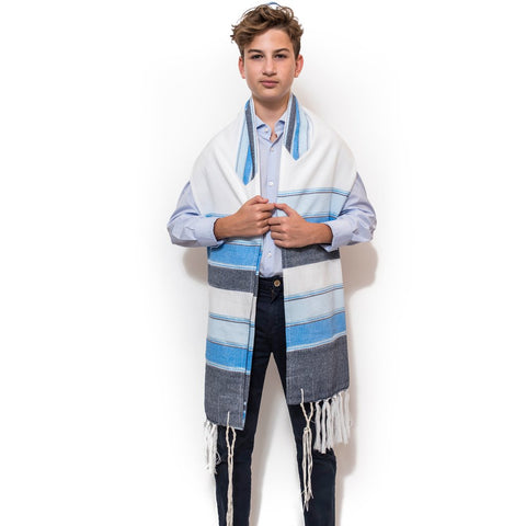 Silk Tallit - 3 Blues and Silver on White (Boys)