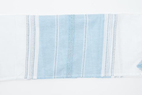 Silk Tallit - Baby Blue with Silver on White