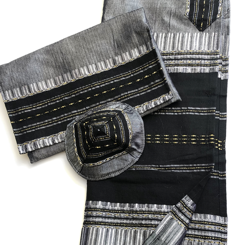 Silk Tallit- Black with Gold on Gray