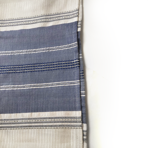 Silk Tallit - Blue with Silver on White