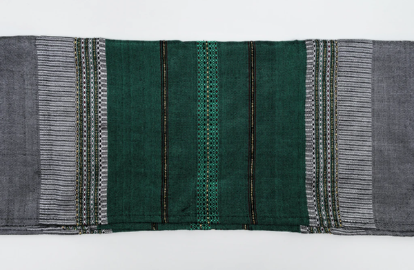 Silk Tallit- Bordeaux Green and Gold on Gray