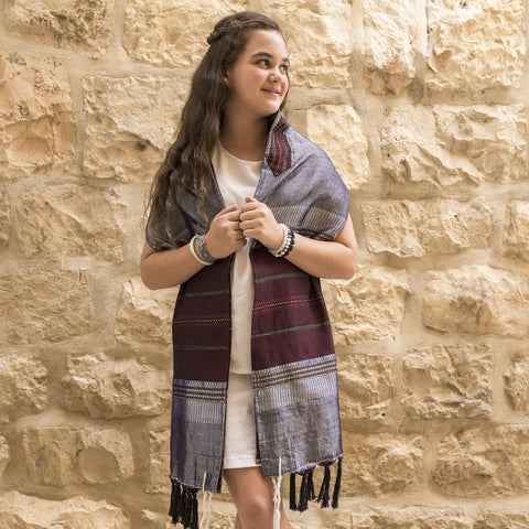 Silk Tallit- Bordeaux and Gold on Gray