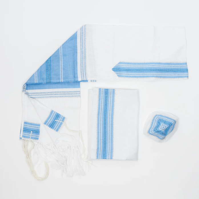 Silk Tallit - Flag Blue with Silver on White