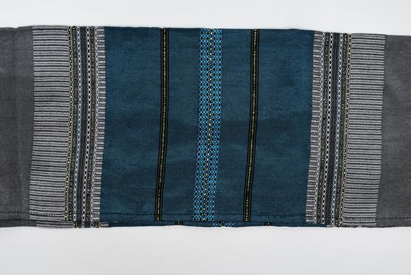 Silk Tallit- Flag Blue with gold on Gray