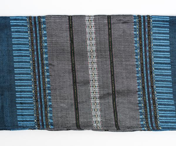 Silk Tallit - Gray with Gold on Blue