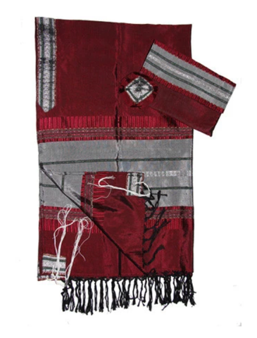 Silk Tallit - Gray with Silver on Red