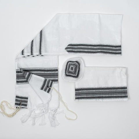 Silk Tallit - Greys and Silver on White