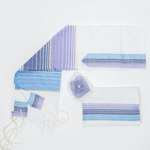 Silk Tallit - Pastel Purple and Blues with Gold on White (Boys)