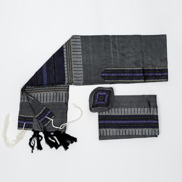 Silk Tallit- Purple and Gold on Gray