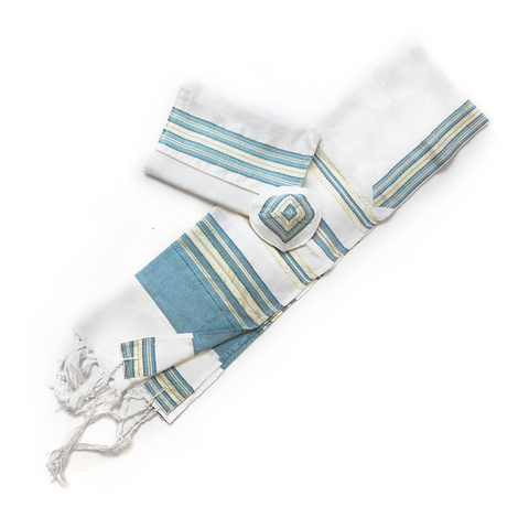 Silk Tallit - Turquoise with Gold on White