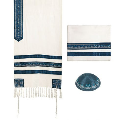 Tallit - Embroidered + Embroidered Stripe - Blue - Chaya jewelry, Jerusalem