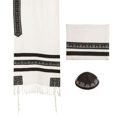 Tallit - Embroidered + Embroidered Stripe - Black - Chaya jewelry, Jerusalem