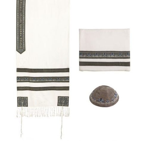 Tallit - Embroidered + Embroidered Stripe - Gray - Chaya jewelry, Jerusalem