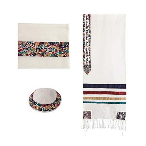 "Tallit - ""Magen David"" - 20"" Multi-color - Chaya jewelry, Jerusalem"