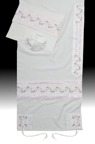 Women's Tallit Flowers Pink - Chaya jewelry, Jerusalem