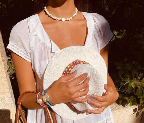 Summer Straw Hats - White - Chaya jewelry, Jerusalem