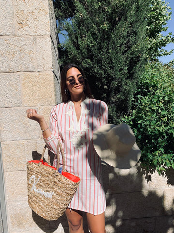 Summer Straw Bag - Orange and White - Chaya jewelry, Jerusalem