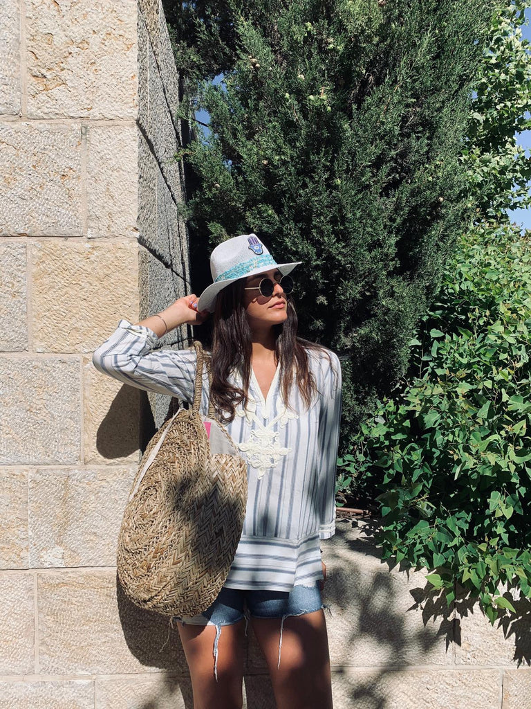 Summer Straw Bag - Large Round - Chaya jewelry, Jerusalem