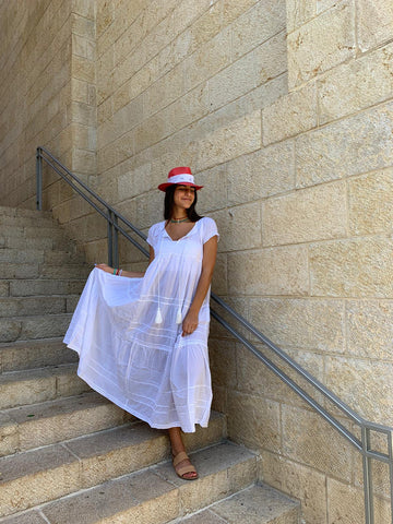 Summer Galabia - Long White II - Chaya jewelry, Jerusalem
