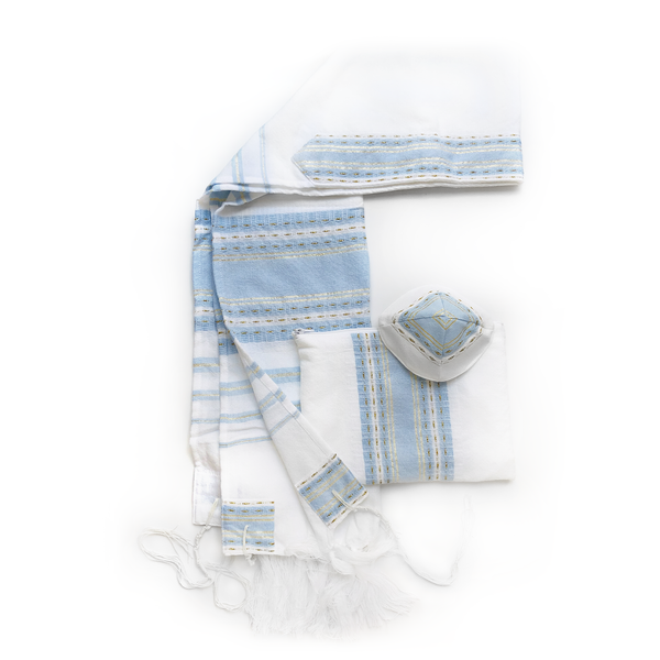 Wool Tallit -Baby Blue with Gold