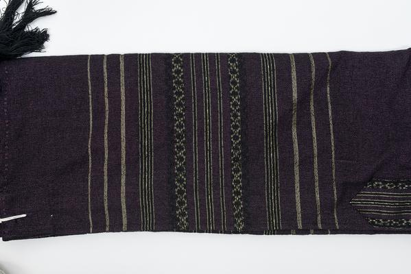 Wool Tallit - Black and Gold Design on Purple