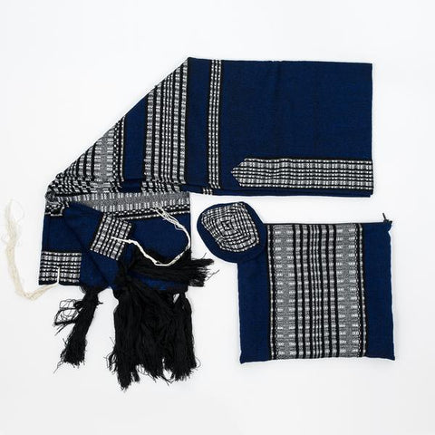 Wool Tallit - Black and Grays on Blue