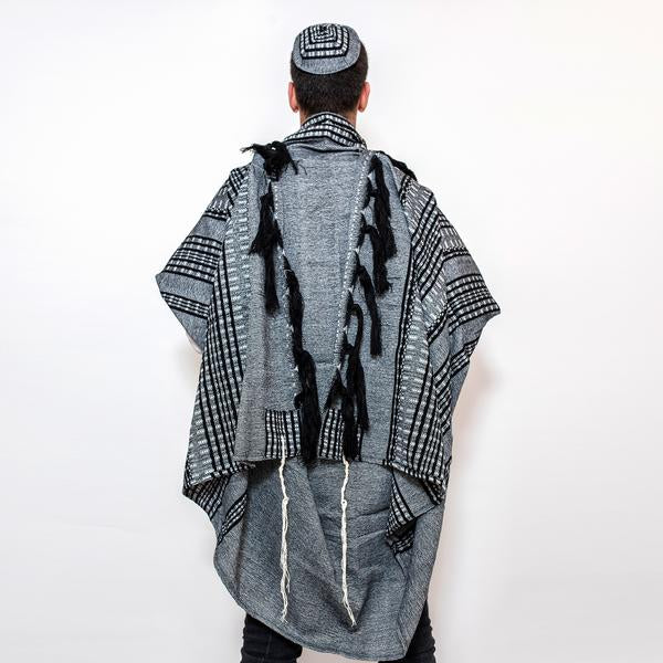 Wool Tallit - Black and Grays on Gray