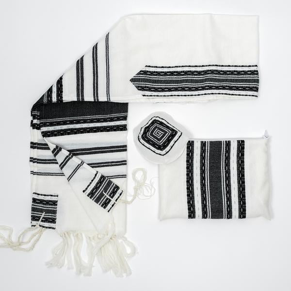 Wool Tallit - Black and Silver