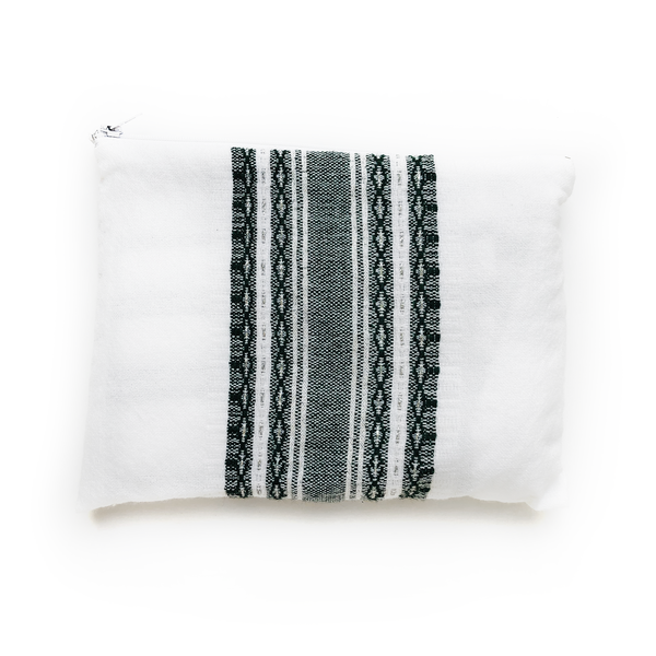 Wool Tallit - Dark Green and Silver